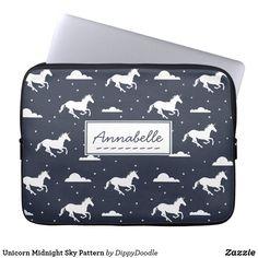 Unicorn Patter Midnight Blue Sky Personalised Cute Laptop Sleeve #ad #laptopsleeves #unicorns