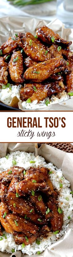 Baked General Tso's Sticky Wings - Your favorite sweet and spicy, ginger, caramel General Tso's sauce now smothering crispy, sticky baked wings – No breading chicken! Skip Carmel sauce part? Asian Recipes, Healthy Recipes, Chinese Recipes, Thai Recipes, Chinese Food, Sauce Recipes, Tso Chicken, Chicken Meals, Party Chicken