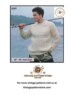 """Mens Mans 90s crew neck cable cabled aran raglan sweater jumper pdf knitting pattern 36"""" to 46"""" chest Instant PDF download 3197 Aran Sweaters, Sweater Knitting Patterns, Chester, Digital Pattern, Vintage Patterns, See Photo, Cable, Crew Neck, Pdf"""