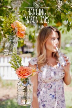 Add a little flower power to your home, both inside and out, with these charming DIY Hanging Flower Vases, and Sutter Home Rosé. Hanging Mason Jars, Diy Hanging, Sutter Home, Flower Vases, Flowers, Color Splash, Flower Power, Diy Gifts, Art Projects