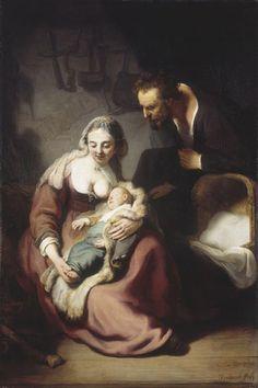 The Holy Family, 1634 by Rembrandt van Rijn (Dutch 1606-1669) oil on canvas. Alte Pinakothek, Munich.