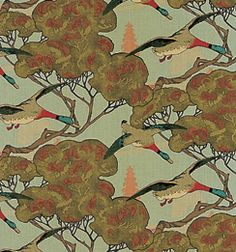 Mulberry - Flying ducks fabric or wallpaper