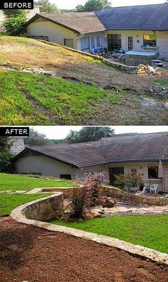 Backyard Terraced Landscaping, Outdoor Landscaping, Front Yard Landscaping, Outdoor Gardens, Privacy Landscaping, Landscaping Ideas, Roof Gardens, Sloped Yard, Sloped Backyard