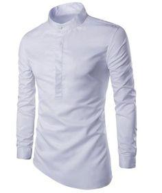 Trendy Stand Collar Solid Color Irregular Hem Long Sleeve Men's Shirt