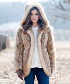 94ce542e1dbd Donna Salyers Fabulous-Faux Furs Gold Fox Faux Fur Hooded Coat - Women    Plus