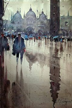 "Artist: Dusan Djukaric ~ ""Rainy day in St. Mark's Square, Venice"" (watercolor)"