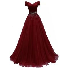 Chady Off Shoulder Red Tulle Prom Dresses 2017 Ball Gowns Long with... ($100) ❤ liked on Polyvore featuring dresses, cocktail dresses, red prom dresses, red party dresses, evening dresses and prom dresses