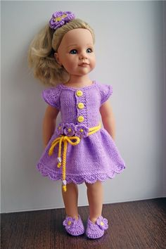 Knitting Dolls Clothes, Ag Doll Clothes, Holiday Crochet Patterns, Baby Knitting Patterns, Crochet Doll Dress, Knitted Dolls, Gotz Dolls, Crochet Bebe, American Girl Clothes