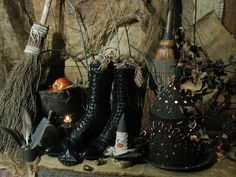 Antique Victorian Ladies High Top black Leather Lace Up Boots Halloween Witches Shoes