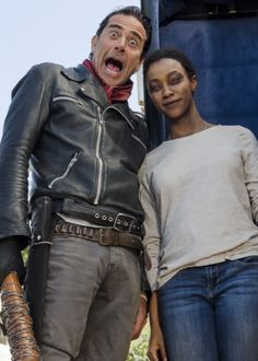 Sonequa Martin-Green and Jeffrey Dean Morgan behind the scenes of The Walking Dead Season 7 Episode 16 | The First Day of the Rest of Your Life