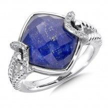 Sterling silver, lapis fusion and diamond ring  Contact us to order!