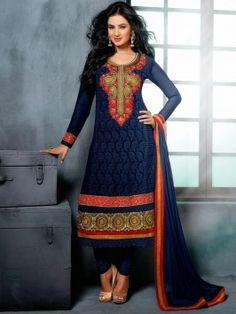 Navy Blue Georgette Suit With Resham And Zari Embroidery Work (With Santone Inner) www.saree.com
