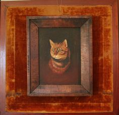 Antique Oil Painting of Orange Tabby Cat in by robinseggbleunest