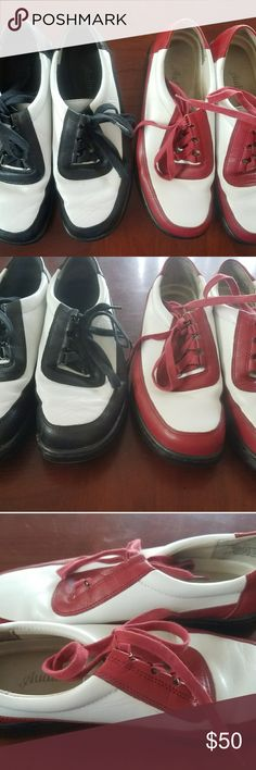 2 Pair of Womens Shoes Auditions Leather 2 Pair of Womens Shoes Auditions Leather ,Life Stride& AK ANNE KLEIN  black and white and red and white Shoes Flats & Loafers