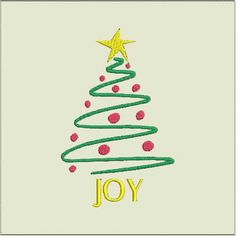 Items similar to Joy Christmas Holiday Tree Machine Embroidery Design and Hoop for Bernina Viking Pfaff Babylock Elna more on Etsy Holiday Tree, Christmas Holidays, Christmas Ornaments, Applique Patterns, Machine Embroidery Designs, All Design, 4x4, Decorative Pillows, Make It Yourself