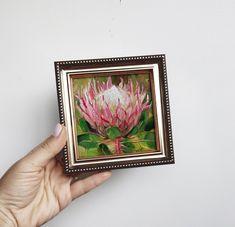 Small painting framed pink protea art original Unique protea   Etsy