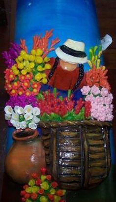 Florista con cerámica al frío hecho en JuliartexPerú