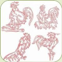 DS1090 REDWORK ROOSTERS