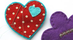 Stiching on colourful felt shapes | Fabric and felt brooches | Tesco Living