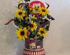 Silk Flower Arrangement in Rooster Decorator Tins with Bright Sunflowers, Silk Floral Arrangement, Home Decor, Rooster Kitchen Decor