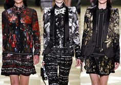 Milan Fashion Week-Roberto Cavalli A/W 2013/14-Painterly Baroque Style Florals – Colourful Brushwork – Cut-up and Collaged Ensembles – Tonal and Monochromatic Prints – Exuberant Gold Painted Florals – Caravaggio and Ruben References