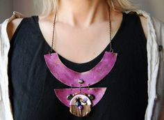 Purple Pink statement leather bib necklace Steampunk by Elyseeart