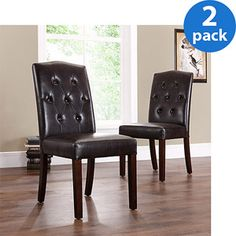 Tufted Parsons Chairs, Set of 2, Espresso