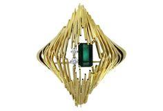 Green Tourmaline & Diamond Pin