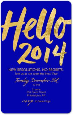 New Year's Eve invitation - love the gold and blue contrast