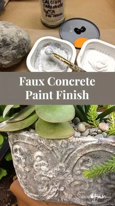 Faux Concrete Paint Finish - made by Barb - simple technique that looks real - Modern Design Cement Art, Painting Concrete, Concrete Crafts, Concrete Projects, Faux Painting, Concrete Pots, Concrete Garden, Cement Planters, Wall Planters