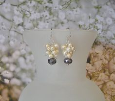 Ivory and Lavender Chandelier Earrings with Ivory by SmockandStone, $20.00