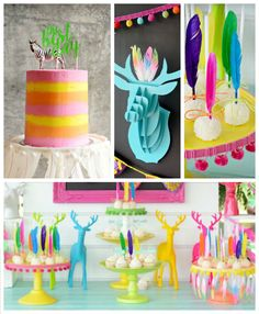 """Summer Boho Birthday Party via Kara's Party Ideas //Divine ideas are to be found in this party submitted by Anna Hogbin of Mama Bear's Kitchen out of NSW Australia! """"Deer"""" I say that with its bright colors and breathtaking boho details it might just be added your favorites list?!"""