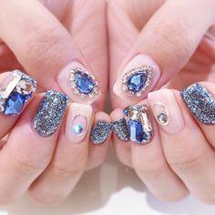 Luv Nails, Jade Nails, Bling Nails, Asian Nails, Exotic Nails, Korean Nail Art, Korean Nails, Short Nail Designs, Nail Art Designs