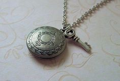 Silver Locket and Key Necklace  Sweet and simple by vintageandglam, $20.00