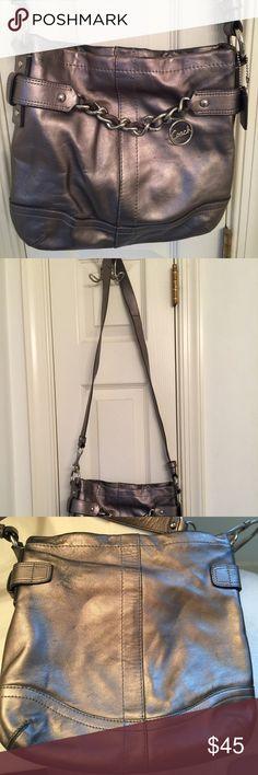 Coach Handbag Silver Coach purse - option for cross body or short purse handle - used condition Coach Bags Crossbody Bags