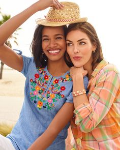 Instant getaway! Let our bright and colorful new collection transport you to your happy place. ☀️ | Talbots Summer Outfits Summer Collection, Talbots, Are You Happy, Transportation, Floral Tops, Summer Outfits, Bright, Colorful, Let It Be