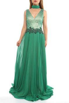 Bodenlanges V-Ausschnitt Abendkleid Jana Grün