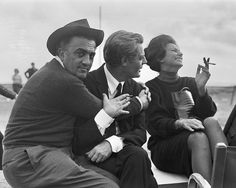 Federico Fellini, Marcello Mastroianni and Sophia Loren