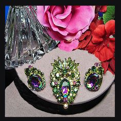 Vintage watermelon and rhinestone demi. by VINTAGEJOOLSFORYOU
