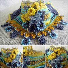 Crochet Bracelet Cuff Bracelet Cuff Beaded by SvetlanaCrochet