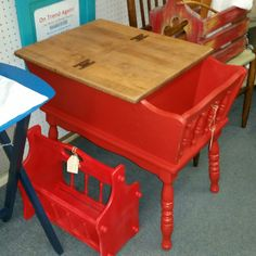 Red country style end table with matching magazine caddy.      Sold.