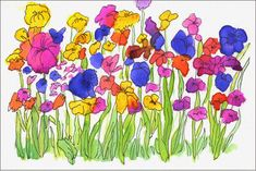 Watercolor Garden | Art Projects for Kids. Paint flowers first, then trace with marker.