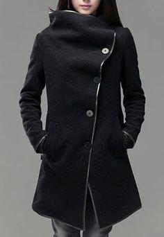 $55.99 [grzxy6600600]2013 New Black Wool Stylish Long Asymmetrical Overcoat | cheershop - Clothing on ArtFire