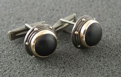 Black onyx cuff links in oxidized, hammered silver and 14K gold. Ready to ship.. $270.00, via Etsy.