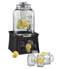 The Oasis Beverage Dispenser is an all-in-one beverage solution for the next time you entertain guests at your home. This dispenser includes a chiller and infuser, allowing you to easily add fresh fruit flavor to your beverages. The included mason jars will also add a touch of southern charm to your display.