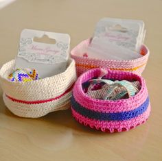 Crochet these bowls by Sarita Creative to how your crafting knick knacks and notions. Try it in Kitchen Cotton or Cotton-Ease. Or for a bigger sizes try it in a bulky yarn like Wool-Ease Thick & Quick.