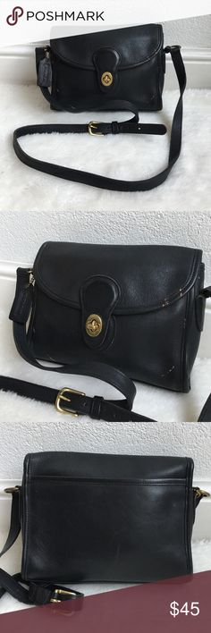"""Vintage Coach Legacy Black Crossbody Bag Vintage Coach Legacy Black Crossbody Bag. It measures 8.5""""x7"""" inches. Adjustable strap is 46"""" inches. Bag has signs of wear and patina due to bags age. Please look at pictures for better reference. Happy shopping! Coach Bags Crossbody Bags"""