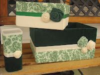 Storage bins made from a diaper box, a shoe box, a Crystal Light container and fabric scraps and my glue gun of course!