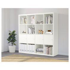 KALLAX shelf with 4 inserts white - Ikea Ideas Decoration Etagere Kallax Ikea, Ikea Kallax Shelf Unit, Ikea Regal, Ikea Kallax Regal, New Swedish Design, Ikea Family, Home Office Decor, Home Decor, Office Storage