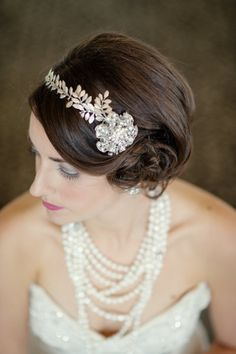 Beautiful headpiece - Great Gatsby Wedding Inspiration from Robert & Kathleen Photographers